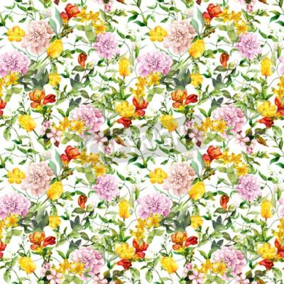 Fototapeta Vintage summer flowers, leaves, herbs. Repeating floral background. Watercolor