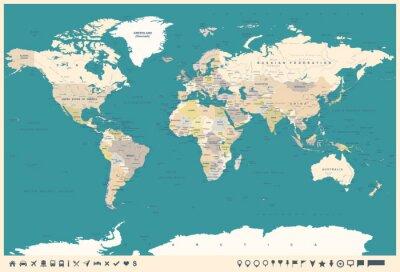 Fototapeta Vintage světová mapa a značky - ilustrace