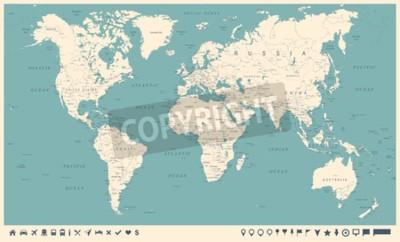 Fototapeta Vintage světová mapa a značky - podrobné vektorové ilustrace