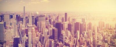 Fototapeta Vintage tónovaný Manhattan panorama při západu slunce, NYC, USA.
