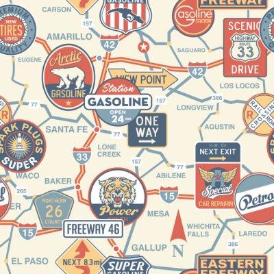 Fototapeta Vintage vektorové silniční mapa s reklamní tabule - bezešvé vzor