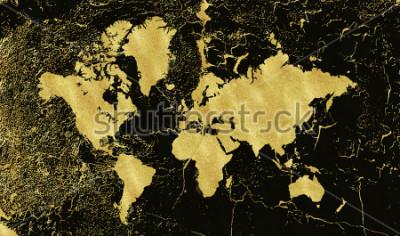 Fototapeta Vintage zlatá mapa na černém pozadí. Používejte strukturu, grunge, zlatou patinu. Šablona pro karty, svatební oznámení, plakáty, blogy, webové stránky a další