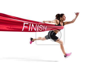 Fototapeta Vítěz žena běžec na cílové čáře
