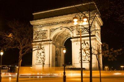 Fototapeta Vítězný oblouk v noci, Paříž, Francie.