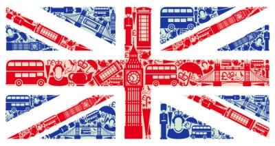 Fototapeta Vlajka Anglie ze symbolů Velké Británie a Londýn