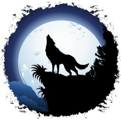 Fototapeta Vlk vyjící na Blue Moon na grunge rám