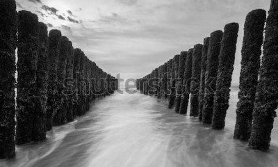 Fototapeta vlnolamy u Baltského moře v černé a bílé barvě