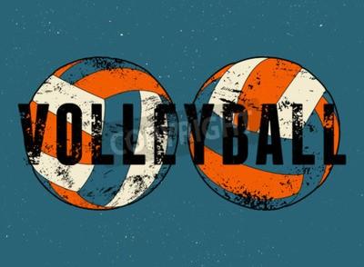 Fototapeta Volejbal typografických vintage styl grunge plakát. Retro vektorové ilustrace.