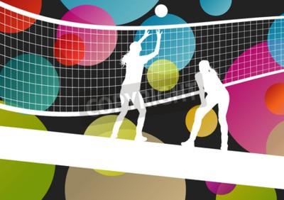 Fototapeta Volejbalový hráč siluety ve sportovním abstraktní vektorový obrázek pozadí