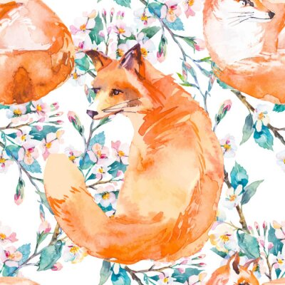 Fototapeta Volně žijících živočichů vzor. Fox a kvetoucí větve. Vektor.