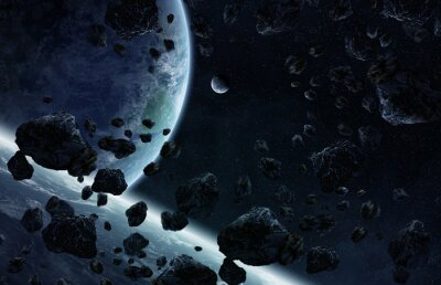 Fototapeta Východ slunce nad skupinou planet ve vesmíru