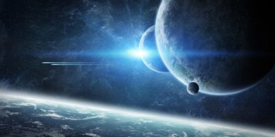 Fototapeta Východ slunce nad Zemi ve vesmíru