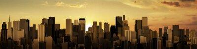 Fototapeta Východ-západ slunce město panorama / 3D vykreslování moderní město při východu nebo západu slunce
