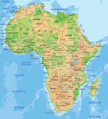 Fototapeta Vysoce detailní Afrika fyzikální mapa s značení.