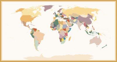 Fototapeta Vysoce detailní Blind Politické Mapa světa vintage barvy