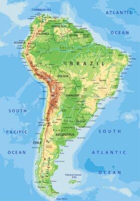 Fototapeta Vysoce detailní Jižní Amerika fyzická mapa s značení.