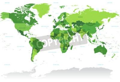 Fototapeta Vysoká Detail Vektor Mapa světa v odstínech zelené. Všechny země jsou pojmenovány s příslušným český název.