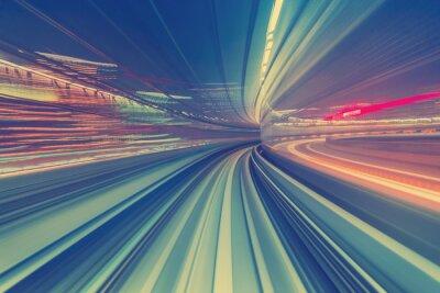 Fototapeta Vysokorychlostní technologie koncepce přes Tokiu jednokolejka