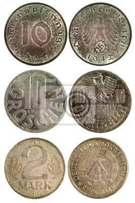 74f0d1c49 Vzácné vintage mince německa fototapeta • fototapety 1942, 1977 ...