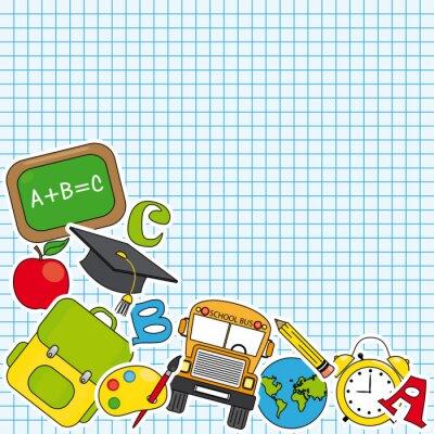 Fototapeta Vzdělávání a ikona školní set. Prostor pro text