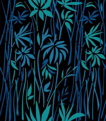 Fototapeta Vzor bambusové houštiny smaragdových listů a modré větve na černém pozadí