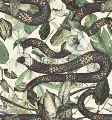 Fototapeta Vzor bezešvé akvarel s tropické květy, magnólie, pomerančový květ, vanilková orchidej, tropické listy, banánové listy