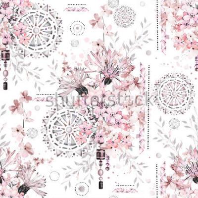 Fototapeta vzor bezešvé s mandlemi. Abstraktní květinové pozadí. Dlaždice s divokou květinou louky a geometrickou ilustrací.