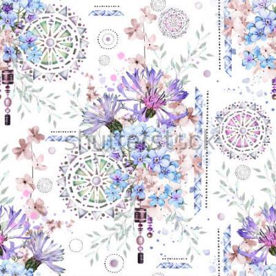 Fototapeta vzor bezešvé s mandlemi. Abstraktní květinové pozadí. Dlaždice s divokou květinou louky a geometrickou ilustrací. Chrpy, ne