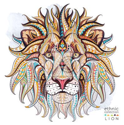 Fototapeta Vzorované hlava lva na pozadí grunge. Africká / Ind / totem / tetování design. To může být použit pro návrh trička, tašky, pohlednice, plakát a tak dále.
