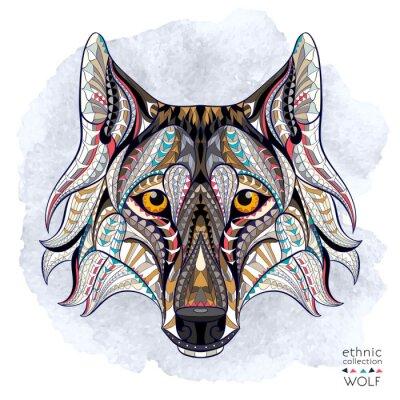 Fototapeta Vzorované hlava vlka na pozadí grunge. Africká / Ind / totem / tetování design. To může být použit pro návrh trička, tašky, pohlednice, plakát a tak dále.