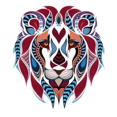 Fototapeta Vzorované zbarvená hlava lva. Africká / Ind / totem / tetování design. To může být použit pro návrh tričko, vaku, pohlednice a plakátu.