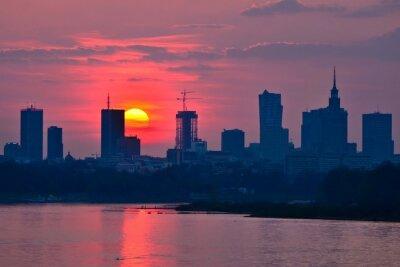 Fototapeta Warsaw Downtown sunset