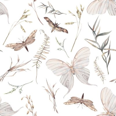Fototapeta Watercolor butterfly and summer field herbs seamless pattern. Hand painted texture with botanical elements: plants, grass, berries, fern, leaves. Natural repeating background