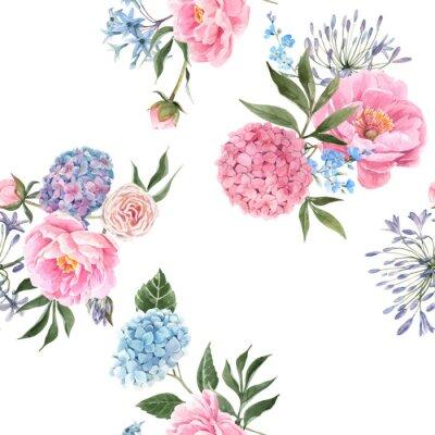 Fototapeta Watercolor floral bouquet seamless vector pattern