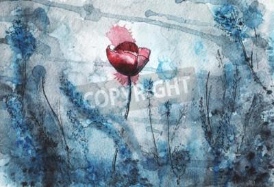 Fototapeta watercolor illustration. red poppy flower