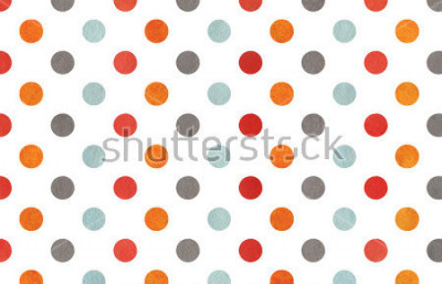 Fototapeta Watercolor orange, blue, red and grey polka dot background. Texture with colorful polka dots for scrapbooks, wedding, party or baby shower invitations.