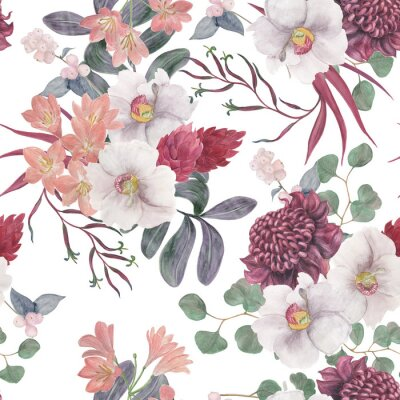 Fototapeta Watercolor painting seamless pattern with exotic flower and tropical leaves