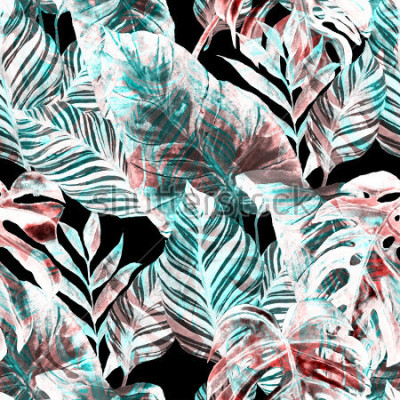 Fototapeta Watercolor seamless pattern with tropical leaves: palms, monstera, passion fruit. Beautiful allover print with hand drawn exotic plants. Swimwear botanical design.