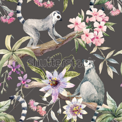 Fototapeta Watercolor tropical pattern with lemurs, passionflower, eucalyptus, Pink oleander, orchid and palm leaves
