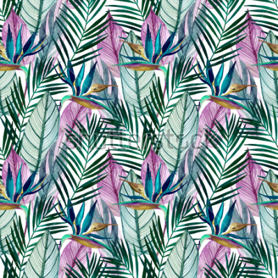 Fototapeta Watercolor tropical seamless pattern with bird-of-paradise flower, palm leaves. Exotic flowers, leaves on light background. Hand painted natural illustration