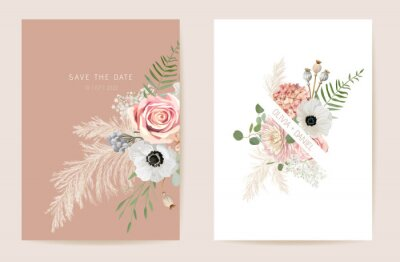Fototapeta Wedding summer floral invitation, dry flowers, dried pampas grass card, watercolor template vector