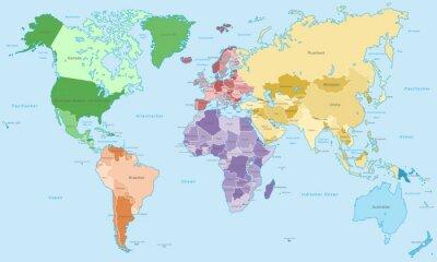 Fototapeta Weltkarte - einzelne Kontinente v Farbe (Hoher Detailgrad)