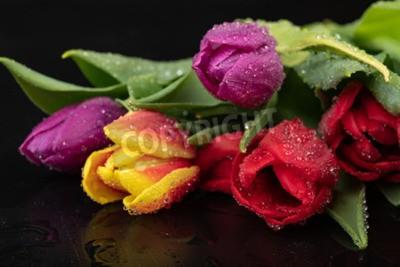 Fototapeta Wet tulip flower on a dark wet table. A bouquet of flowers with water. Dark background.