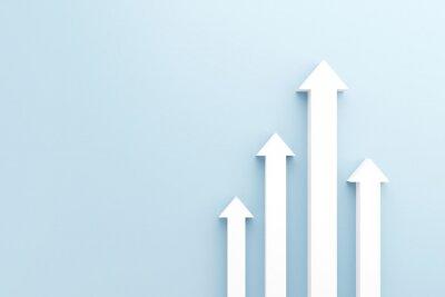 Fototapeta White arrow up to growth success, 3d render, progress way and forward achievement creative concept.