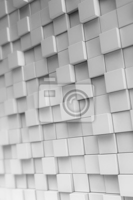 Fototapeta White metallic tiles or cubes at different heights. Abstract digital 3D illustration