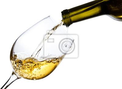 Fototapeta White wine isolated  on white background
