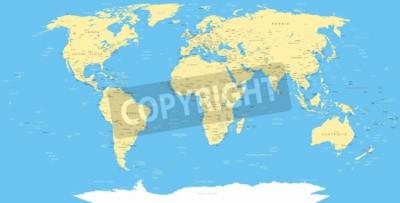 Fototapeta White World Map a navigační ikony - ilustrace.