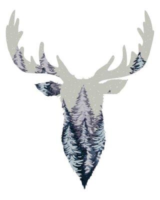 Fototapeta Wild Deer Head Silhouette