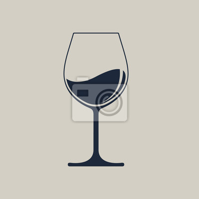 Fototapeta Wine glass icon with wine. Isolated sign glass of wine on white background. Vector illustration.