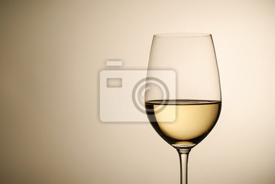 Fototapeta Wineglass with white wine and copy space